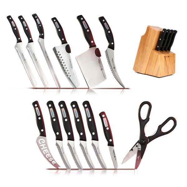 Zestaw noży kuchennych Miracle Blade + drewniany stojak