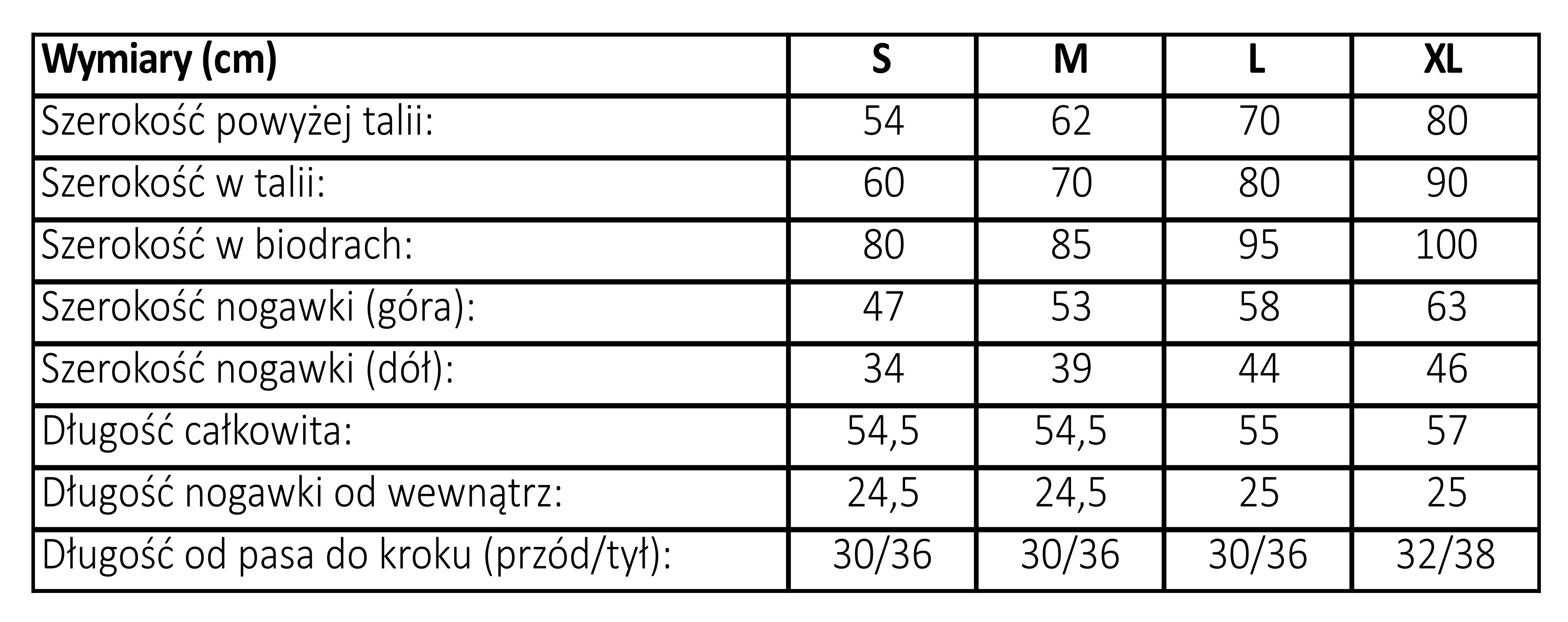 tabela rozmiarów spodenki wyszczuplające dla kobiet